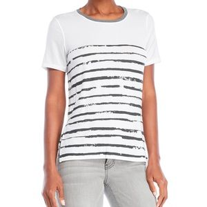 Kit & Ace Court Tee in white and gray stripe